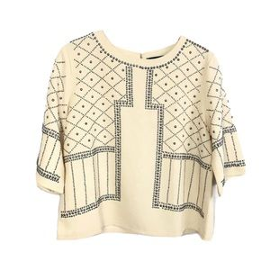 CHOIES Ivory Beige Silver Studs Cropped Top Blouse